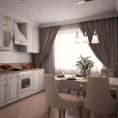 Кухня в стиле нео-классика, интерьер в стиле современной классики, оформление кухни