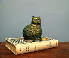 Mid Century Brass Cat Figurine Paperweight by BBatEmporium on Etsy, $22.00