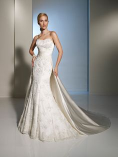 Designer Wedding Dresses by Sophia Tolli  |  Wedding Dresses  |  Style #Y11221 - Semilla.    I love the detachable satin train of this mermaid Sophia Tolli gown!!!