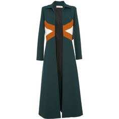 Marni Hunter Green Duster Coat ($2,430) ❤ liked on Polyvore featuring outerwear, coats, coats & jackets, duster coat, colorblock coat, blue coat, long sleeve coat and color block coat