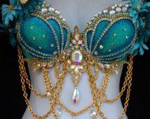 Aqua and gold Mermaid bra
