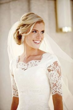 We have several options for Modest Wedding Dresses.  Temple Ready Bridal Gowns with lace for a more traditional bride. We can create this classy wedding gown for you in any size or with any changes.  We are based here in the US and can produce affordable custom wedding gowns and inexpensive replicas.  We can sketch a design for you or work from any picture you have. www.dariuscordell.com