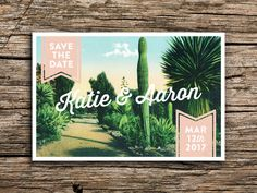 Cactus Garden Postcard Save the Date // Wedding Invitation PInk Cactus Succulent Arizona New Mexico Postcards Desert Rustic Vintage Fun