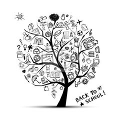 Wall Mural tree of knowledge, concept of school for your design - vector •…