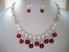 Vintage White Pearl, Red Crackle Agate and Clear Crystal Bib Necklace and…