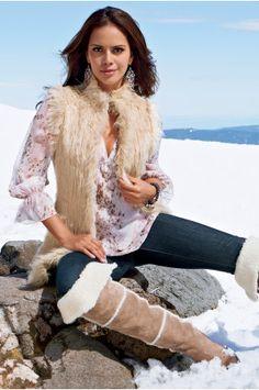 Boston ProperKnit panel fur vest and Denim legging