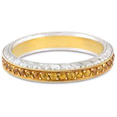 Hand Engraved Yellow Sapphire Eternity Band In Platinum 18K Yellow... ($1,980) ❤ liked on Polyvore featuring jewelry, rings, gold eternity rings, 18 karat gold ring, yellow gold eternity ring, 18k ring and gold jewellery