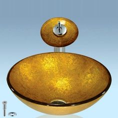 Brighten up any residential or hospitality setting with this round shiny gold bathroom combo of vessel sink and faucet.