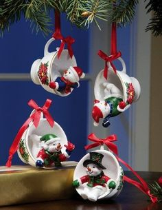 **Snowman Pals Holiday Teacup Ornament Set Need to find mini Christmas cups to make my own adaptation of these (diy xmas ornaments kerst) Christmas Clay, Homemade Christmas, Christmas Projects, Christmas Ideas, Vintage Christmas, Merry Christmas, Diy Christmas Ornaments, Holiday Crafts, Christmas Decorations