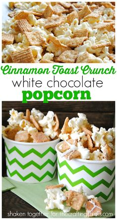 It's Keri from Shaken Together and I'm back with another super fun no-bake treat that is perfect for your Summer road trips, pool parties or movie nights: Cinnamon Toast Crunch White Chocolate Popcorn! Flavored Popcorn, Gourmet Popcorn, Popcorn Snacks, Popcorn Balls, Oreo Popcorn, Popcorn Shop, Popcorn Mix, Candy Popcorn, Snack Recipes