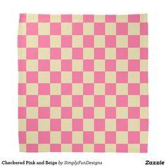 Checkered Pink and Beige Bandana