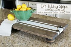 How To Make A Wooden Serving Tray With Ticking Strips