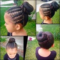 Ballet bun hair style for little girls