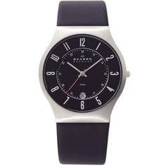 Skagen - Black Dial Mens Black Leather Watch - 233XXLSLB