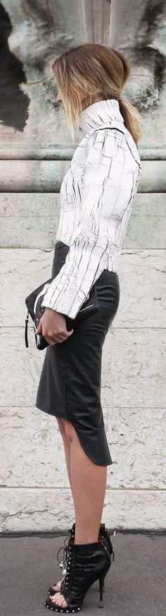 B&W: cracked sweater, leather pencil skirt, peek booties.