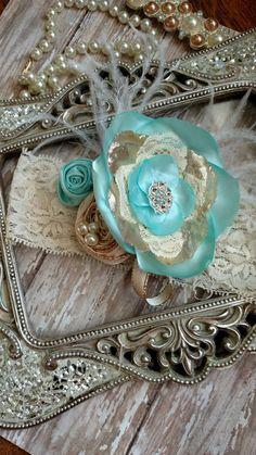 Teal & Gold Headband Baby Girl Headband by Allgirlsbowtique