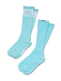 VS PINK Knee Socks in Mint