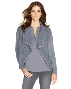 """I own this.  It doesn't look good """"open"""" on me, but it does look good when it's zipped up. --JN"""