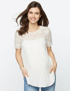 A Pea in the Pod Short Sleeve Scoop Neck Peplum Maternity T Shirt
