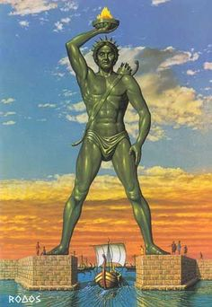 Colossus of Rhodes, Greece. As it would have looked. It was one of the seven wonders of the world. There are presented many versions of the design for the Colossus. I understand that it was intended as a lighthouse, in place at the Harbor. Ancient Architecture, Art And Architecture, Ancient Art, Ancient History, Greek Titans, Art Antique, Greek History, Seven Wonders, Greek Art