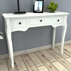 vidaXL Dressing Console Table with 3 Drawers White Hall Sideboard Makeup Desk Table Console Blanche, White Console Table, White Dressing Tables, Dressing Table Desk, Wood Furniture Living Room, White Furniture, Diy Furniture, Garden Furniture, Makeup Furniture