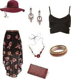 'New Orleans Jazz Fest'; long printed/maxi skirt, black cropped top, accessories/jewlery