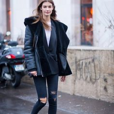 Parisienne: oversize shearling motorcycle jacket