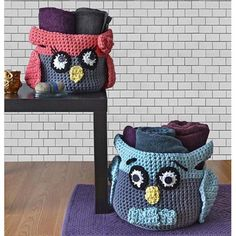 Owl Basket free pattern from Premier Yarns