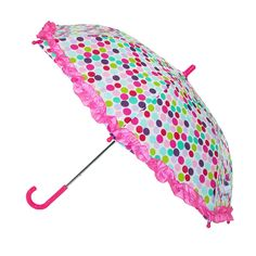 Kids' Polka Dot Print Stick Umbrella with Ruffled Edge