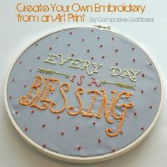 blessing-embroidery-4/ Create your own embroidery from an art print.