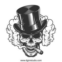 Buy Skull in Smoke Cloud by imogi on GraphicRiver. Skull in smoke cloud and top hat. Tattoos Skull, Tribal Tattoos, Art Tattoos, Skull Butterfly Tattoo, Smoke Cloud, Skull Illustration, Unique Poster, Skull Wallpaper, Skull Design