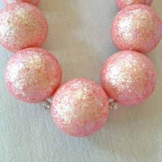 Necklace of Vintage Pink Glitter Beads on Chain by YourBaubleness, $38.00