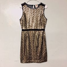 """New gold sequin dress small New One Clothing Gold Sequins Dress. This dress is lined on the inside. The back is partly sheer on the shoulders, and is not stretchy. This dress best a small 2 to 4  *Waist 27"""" *Length: 35"""" *Bust: 34"""" one clothing Dresses Mini"""