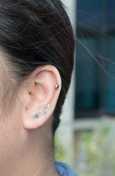 three stars ear pins star earrings 3 stars by karlasdesign on Etsy, $18.00