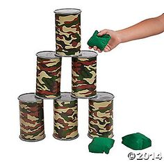 Camouflage Barrel Bean Bag Toss Game
