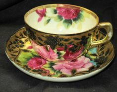 IE and C Japan Gold Beads Pink Red Roses Tea Cup and Saucer
