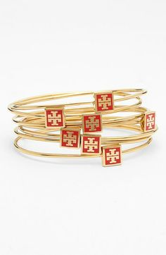 Tory Burch Logo Skinny Bangles (Set of 7) available at #Nordstrom