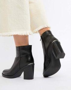 5f5e75e74ba6fe Raid RAID Lorena2 Black Plated Heeled Ankle Boots Asos
