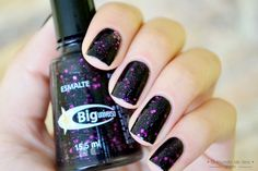 Black + purple glitter nails