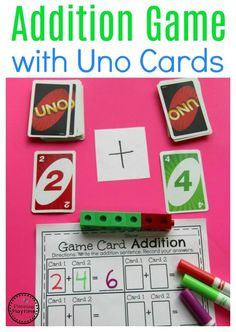 Fun Addition Game for kids with a FREE printable recording sheet.