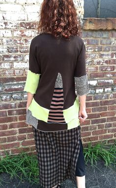 Artsy woman's repurposed cotton blouse by lbalombini on Etsy Upcycled Sweater, Upcycled Clothing, Cotton Blouses, Refashion, Cloths, Repurposed, Artsy, Tunic Tops, Trending Outfits