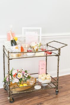 Chic vintage bar cart: Photography: Amalie Orrange Photography - amalieorrangephotography.com Read More on SMP: http://www.stylemepretty.com/2016/08/31//