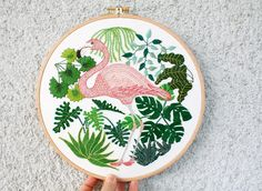 "511 curtidas, 19 comentários - Mirka Döring (@mircat.embroidery) no Instagram: ""The #flamingo got some #greenery as company and I think it's very appreciated. --- (the #monstera…"""