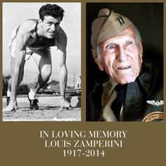 In loving memory of Louis Zamperini, a true American hero. The book Unbroken is an amazing tribute to him. Angelina Jolie, World History, World War, Real Hero, We Are The World, Interesting History, In Loving Memory, God Bless America, Olympians