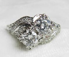 Engagement Ring 1.5 Ct tdw Art Deco by LoveAlwaysGalicia on Etsy