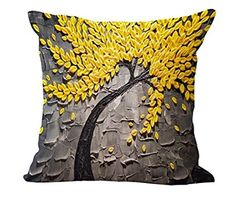 FairyPark Cushion Cover Vintage Flower Pillow Case Mural Yellow Red Tree…