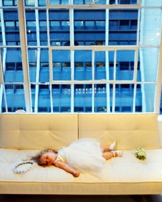 Partied-out flower girl
