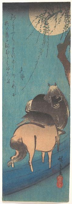 Two Horses Beneath the Moon  Utagawa Hiroshige (Japanese, 1797–1858)