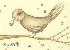 Bird and berries | Nicole Wong