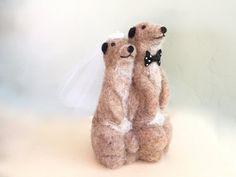 Needle felted meerkat wedding cake topper meerkat by Felt4Soul